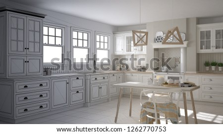 Unfinished project draft of scandinavian classic kitchen with dining table and chairs, windows and morning light, vintage cooker and pendant lamps, minimalist interior design sketch, 3d illustration #1262770753