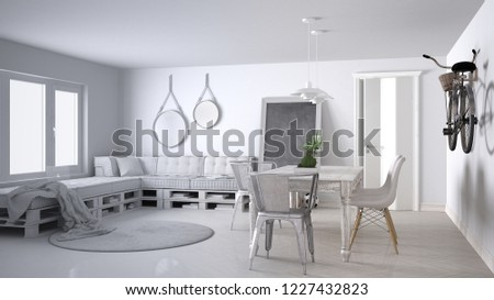 Unfinished project draft, scandinavian minimalistic living room with DIY pallet sofa and vintage dining table, contemporary architecture interior design, 3d illustration #1227432823
