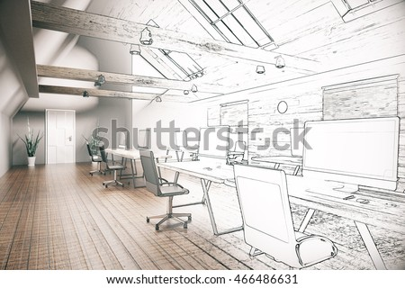 Unfinished project of country style coworking office interior. 3D Rendering