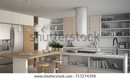 Unfinished project of modern wooden kitchen with wooden details, close up, island with stools, minimalistic interior design, 3d illustration