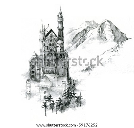 Unfinished sketch of Neuschwanstein Castle in Germany