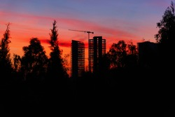Unfinished Towers Silhouette at Sunset
