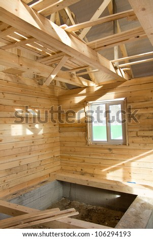 Unfinished wooden village house inside