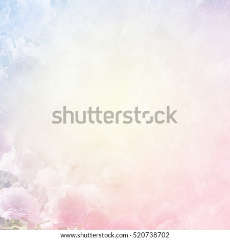 Unfocused blur summer blossoming roses, abstract light flower background, pastel and soft card