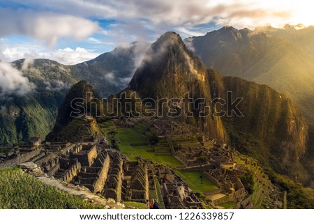 Unforgettable sunrise in Machu Picchu. After a wonderful experience traveling through Peru. The greatness of the Inca civilization. Machu Picchu is the jewel in the crown. #1226339857