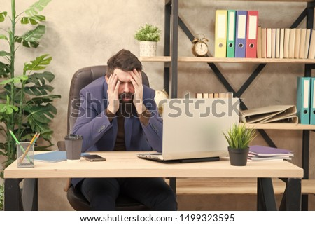 Unforgivable mistake. Falling stock prices. Man bearded boss sit office with laptop. Manager solving business problems online. Business man failed. Risky business. Broker and financial indicators.