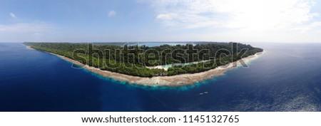 Ungraded Panoramic Aerial photo of Kakaban Island in Derawan, East Kalimantan, Indonesia. Stock fotó ©