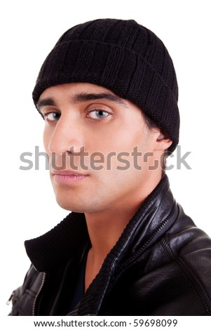 unhappy boy with a hood; isolated on white background. studio shot