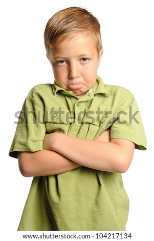 Unhappy Boy. Young boy making a pouty face. Isolated on white. - stock photo