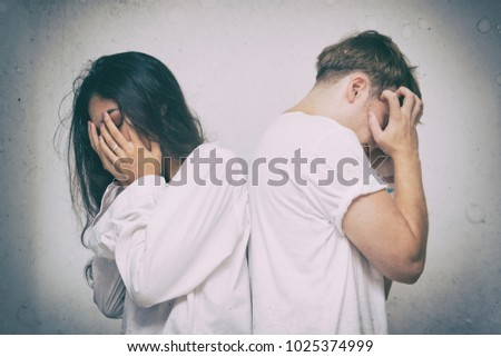 Unhappy couple having problem,Family conflict, problems in relationship, breakup #1025374999