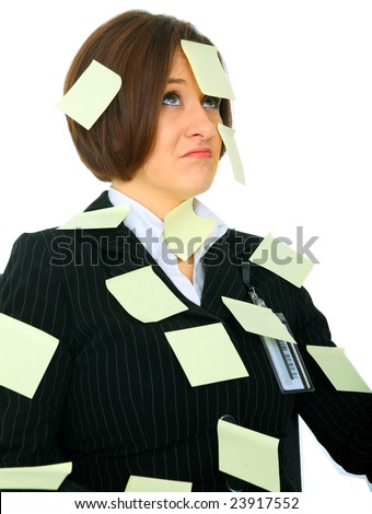 unhappy female businesswoman has many empty post it note on her suit