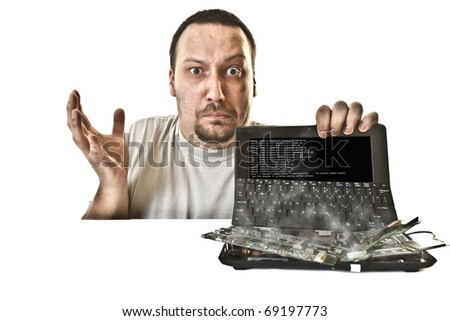 unhappy man in bruises injured from the fried laptop