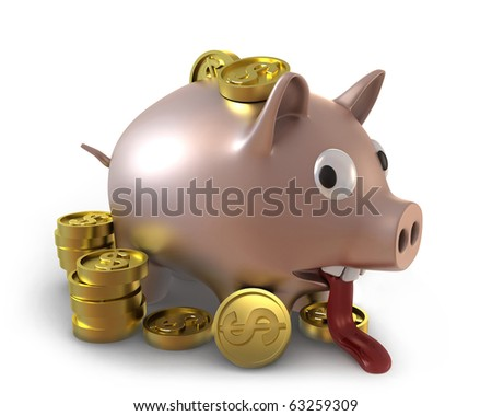 Unhappy overflown piggy bank full of coins
