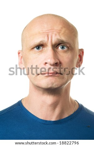 Unhappy. Portrait from bald man facial expressions series. Isolated on white