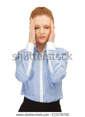 unhappy woman holding her head with hands.