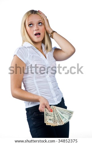 unhappy woman with dollar bills
