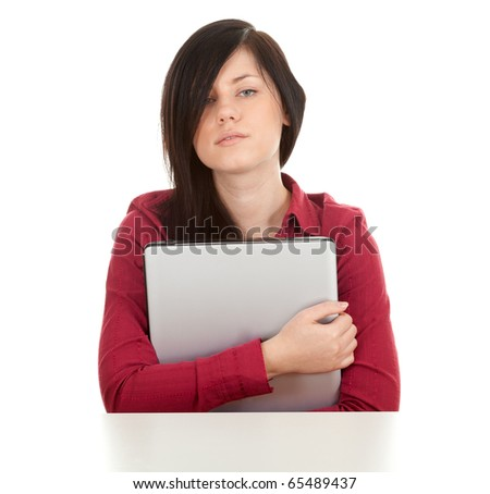 unhappy, young black hair woman with laptop