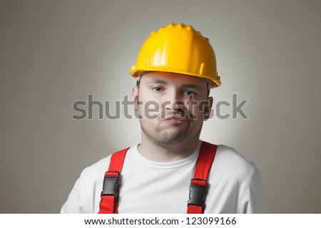 Unhappy Construction Worker Unhappy Young Worker With