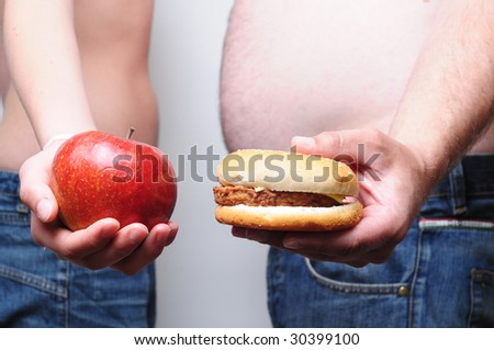 Unhealthy and healthy diet - stock photo
