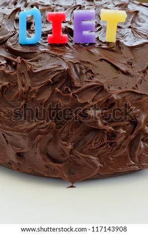 Unhealthy chocolate cake - stock photo