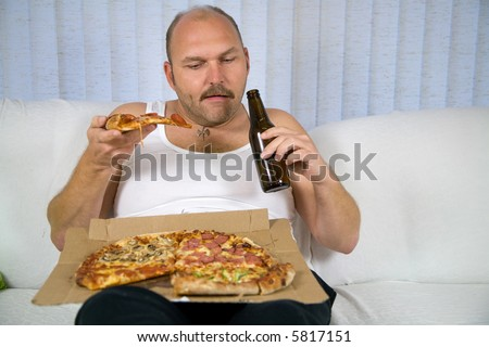 fat person clip art. stock photo : Unhealthy fat