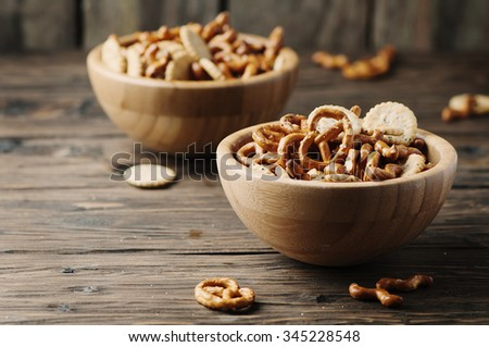 Unhealthy snack on the wooden table, selective focus