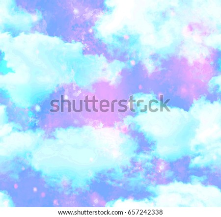 Unicorn Cloud Galaxy Sky Background  Seamless Pattern in Repeat