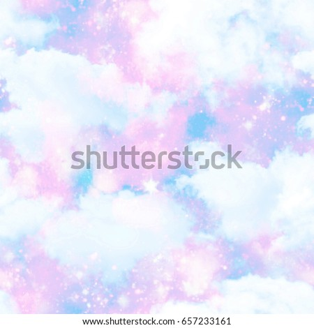 Unicorn Cloud Sky Galaxy Print  Seamless Pattern in Repeat