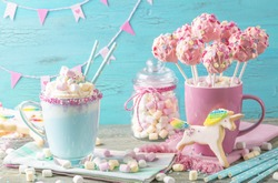 Unicorn hot chocolate and cookies for party