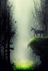 unicorn in dreamy fantasy magic forest