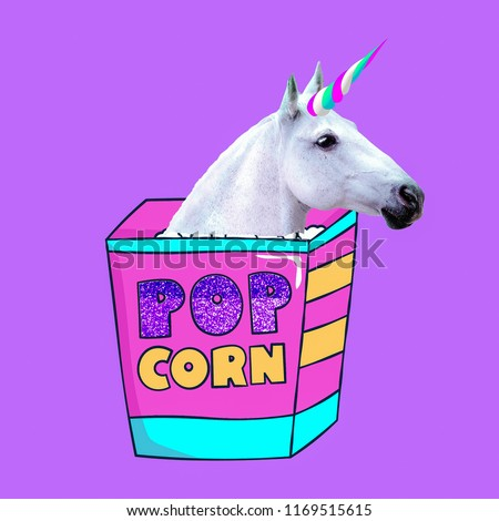 Unicorn loves popcorn Contemporary art  collage. Funny Fast food minimal project