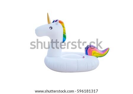 Unicorn swim tube isolated on white background. Inflatable unicorn. Fantasy Swim Ring for Summer Pool Trip