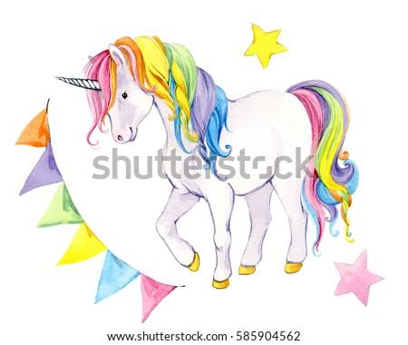unicorn watercolor illustration