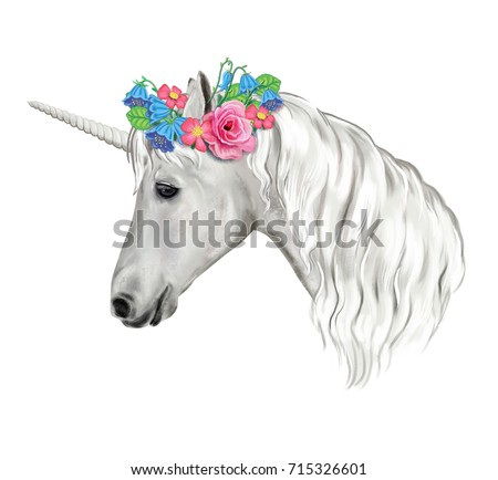 Stock Photo Unicorn with a wreath of flowers. White Horse isolated on white background. Watercolor. Digital art. Illustration. Template. Clip-Art