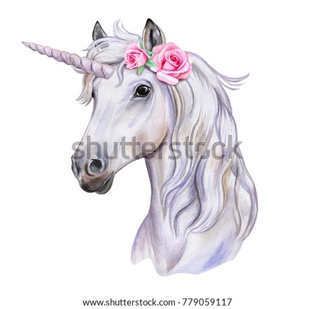 Unicorn with a wreath of flowers. White Horse. Watercolor. Illustration. Template. Clipart