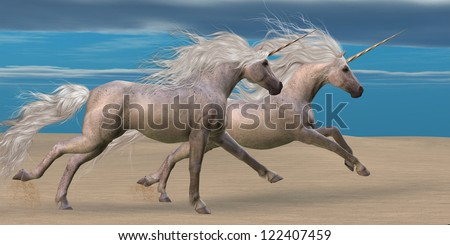 Unicorns - Two white unicorn horses gallop together in the desert.