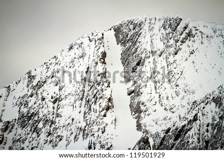 Unidentifiable Hikers in a Snowy Chute
