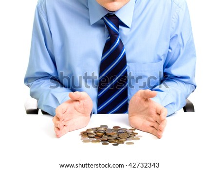 unidentified businessman counts money. Isolated on a white - stock photo