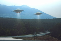 Unidentified flying object. Two UFOs flying over a road among the trees. 3D illustration.