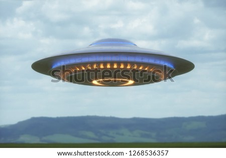 Unidentified flying object. UFO with clipping path included. 3D illustration in real picture.