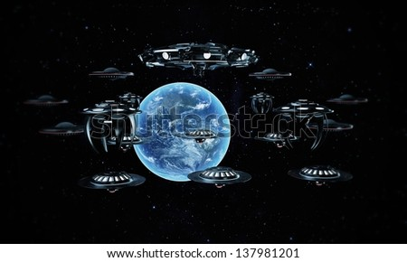 unidentified flying objects ready to attack the planet earth