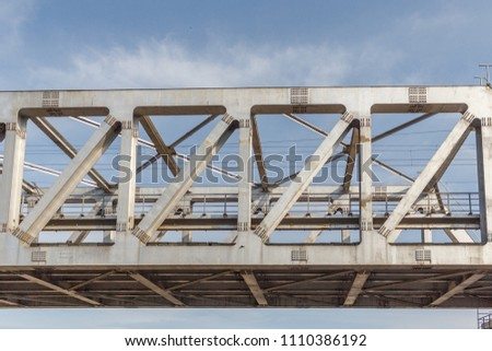 Unidentified metro train iron bridge with zigzag lines built using modern day technology in India #1110386192