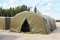 Unified sanitary-barrack canvas army tent to accommodate personnel