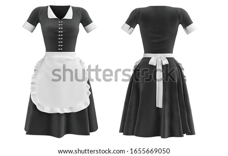 Uniform maid front and back, black-white dress girl cleaning. Classic special uniform of french maid. Black uniform and white apron 3D illustration.