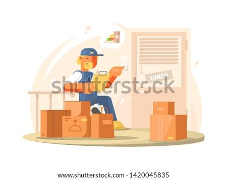 Uniformed deliveryman delivers parcels and packages at address. flat illustration