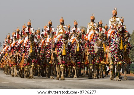 Uniformed soldiers of the Indian Border Security Force riding down the Raj Path in New Delhi, India in preparation for the Republic Day Parade