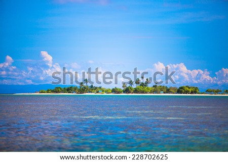 Uninhabited tropical island in the open ocean in the Philippines