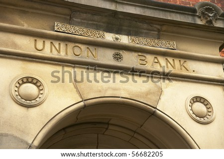 Union bank sign above entrance - stock photo