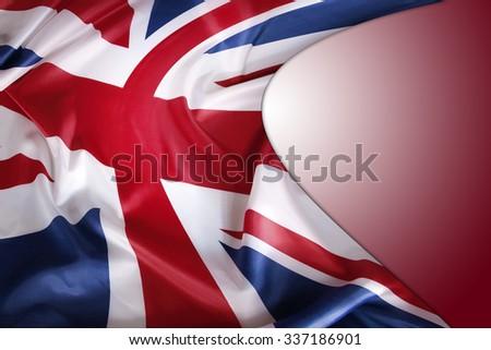 Union Jack Flag On Red Background 337186901