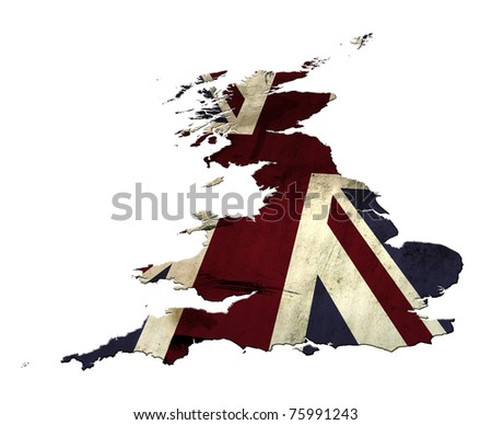 Union Jack flag overlaid on an outline of a map of the United Kingdom (less Northern Ireland).